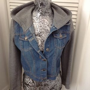 FOREVER 21 JEAN AND GRAY HOODIE JACKET M
